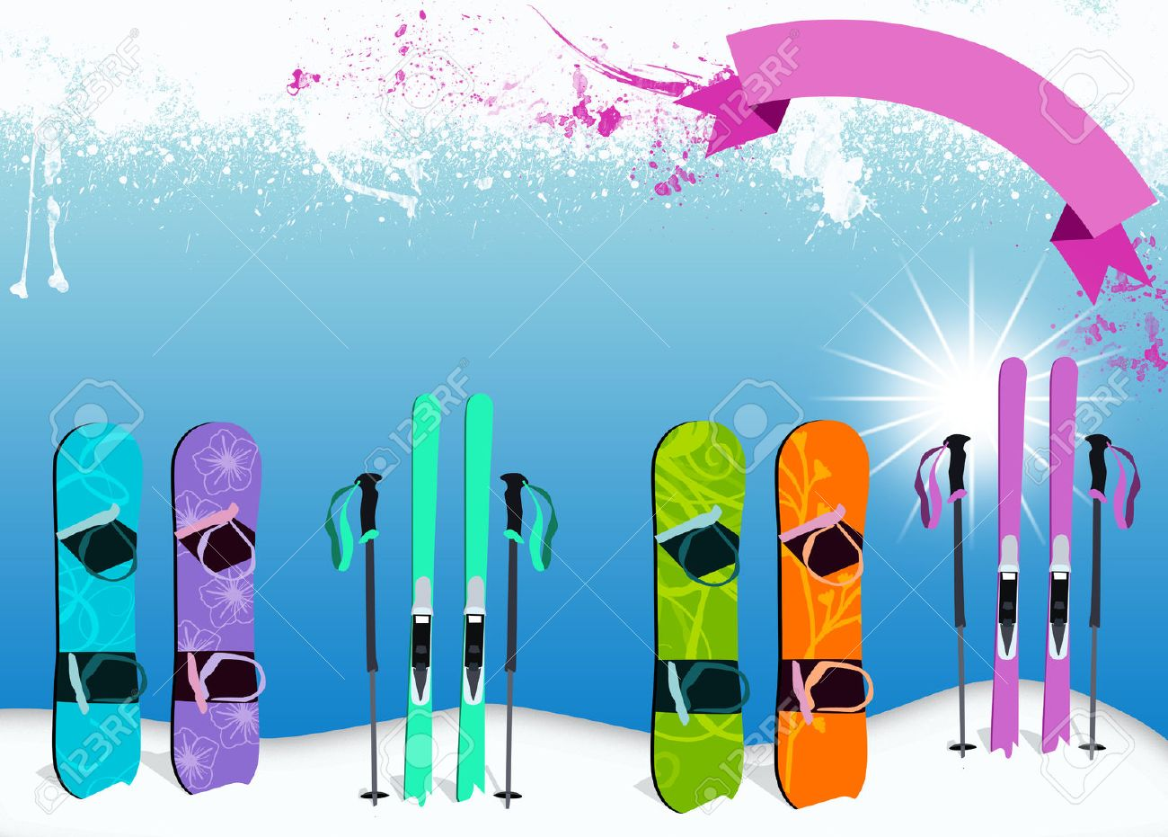 winter sport ski and snowboard poster or flyer background stock photo winter sport ski and snowboard poster or flyer background space