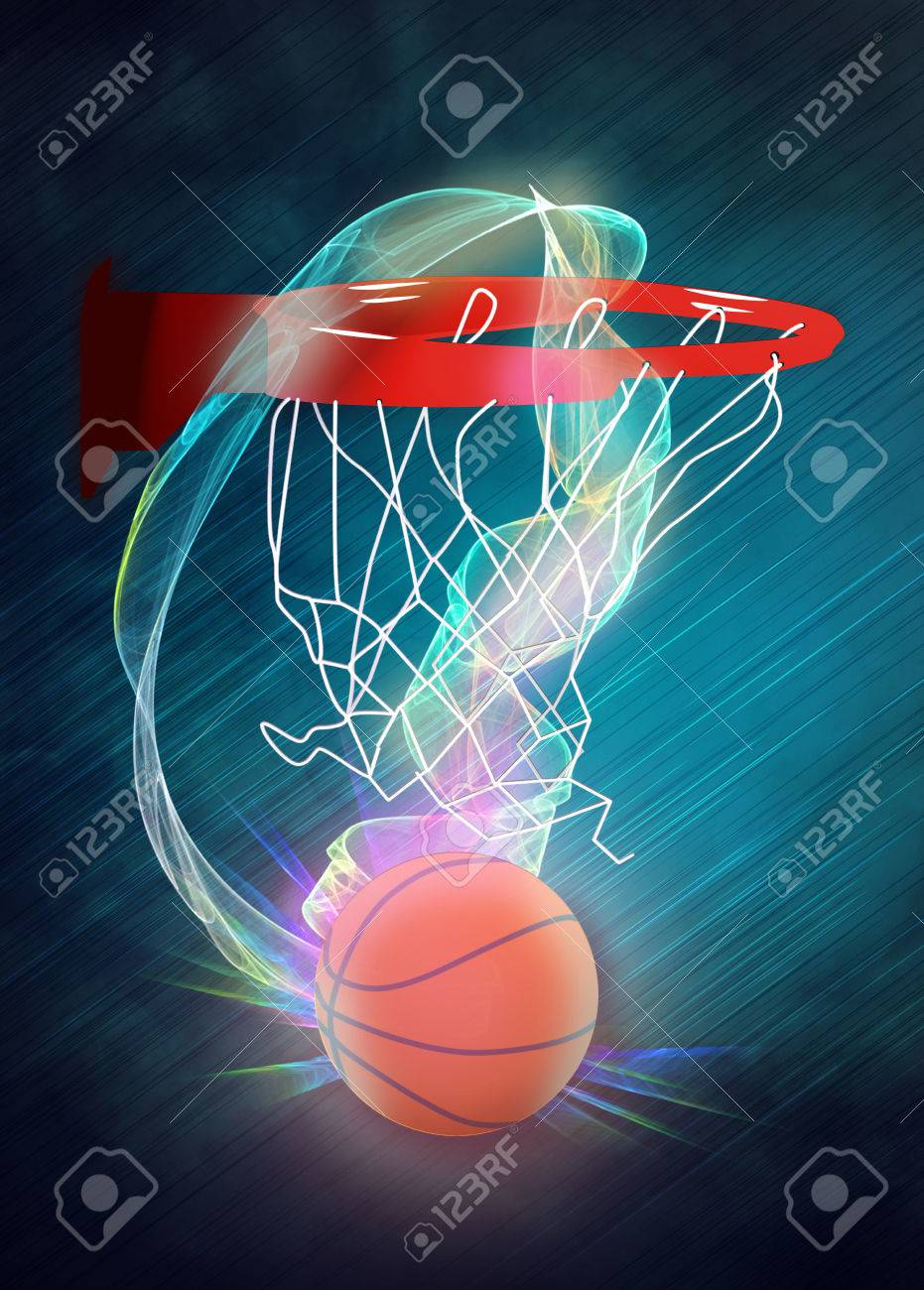 Basketball Hoop And Ball Sport Poster Or Flyer Background With ...