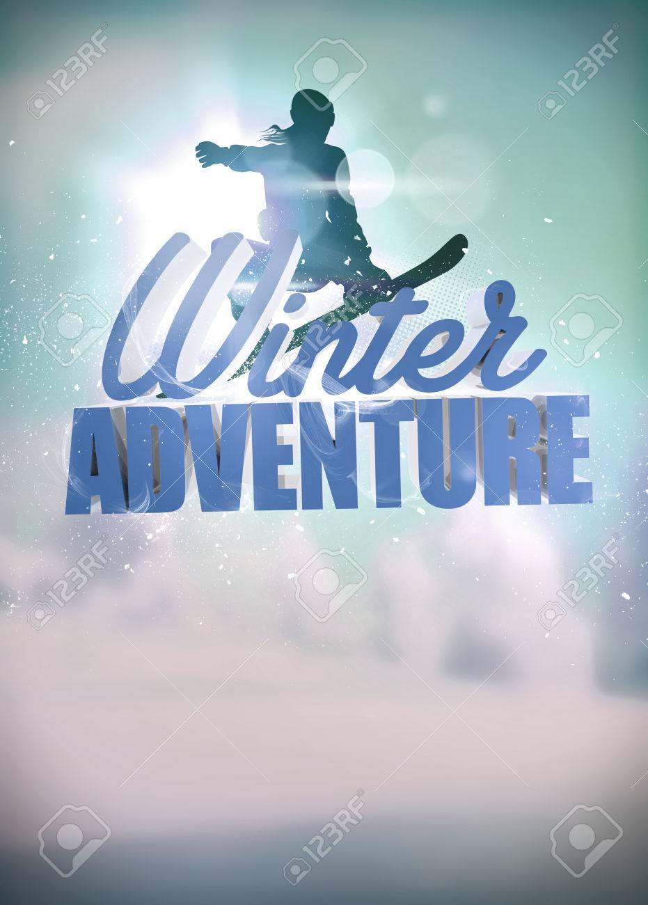winter sport vacation snowboard jump poster or flyer background stock photo winter sport vacation snowboard jump poster or flyer background space