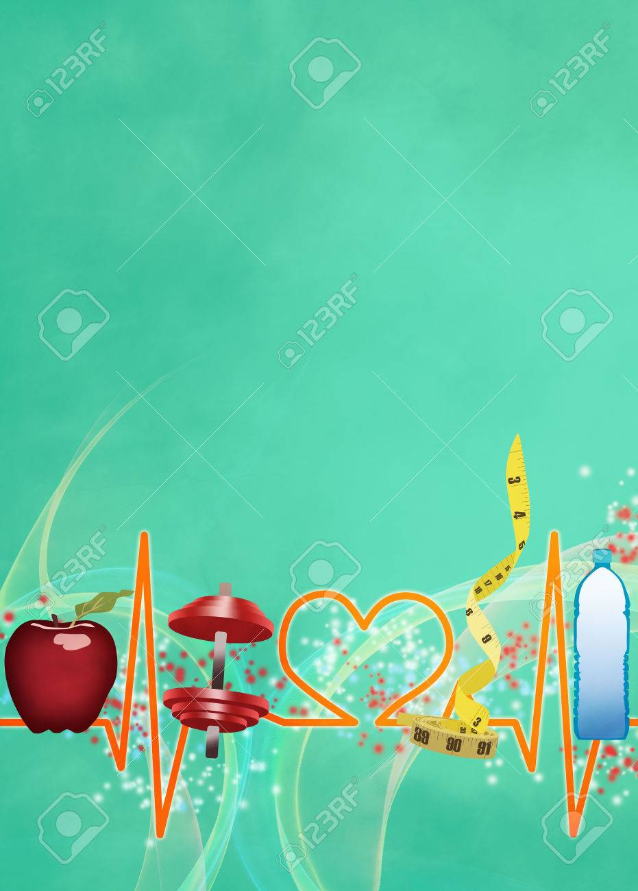Healthy Living Poster Or Flyer Background With Empty Space Stock
