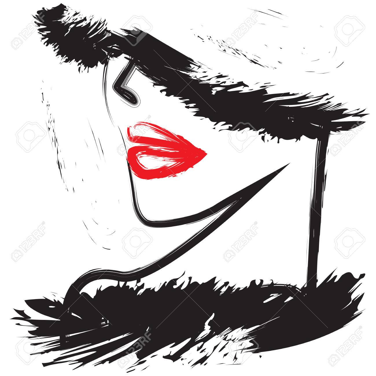 Womans face in profile red lips black fur fashion illustration