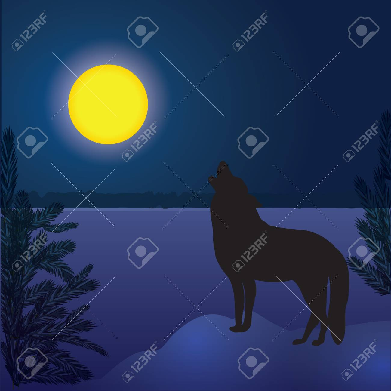 Wolf Moon Winter Landscape Forest Dark Blue Background Abstract Royalty Free Cliparts Vectors And Stock Illustration Image 69685896