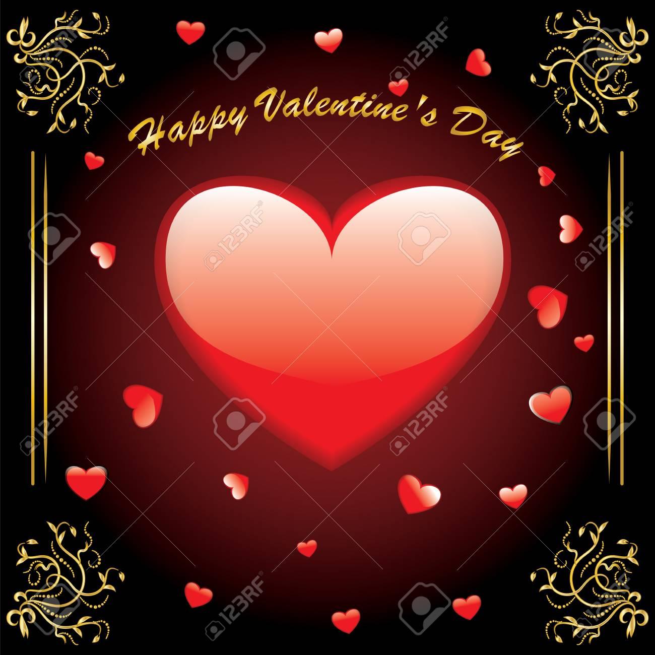 Día De San Valentín Un Gran Marco Vintage De Corazón De Oro Rojo De ...