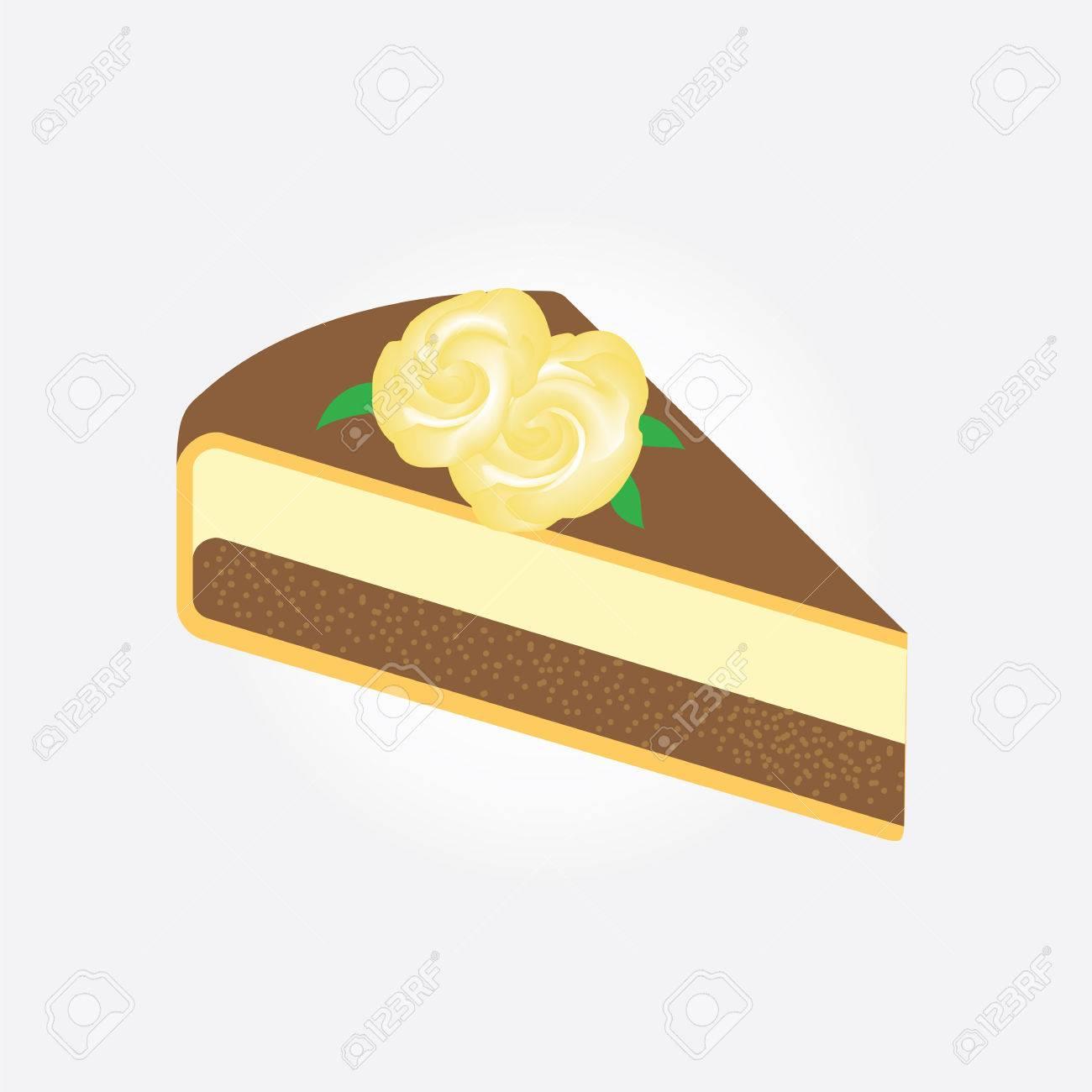 AuBergewohnlich Standard Bild   Stück Kuchen Dekoriert Mit Gelben Rosen, Die Isoliert Auf  Weißem Hintergrund Kunst, Kreative Vektor Design Element