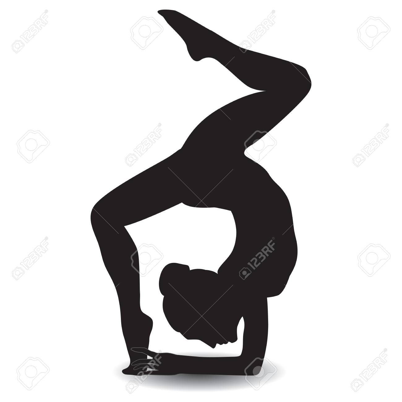 sketch woman gymnast handstand on a white background design element rh 123rf com