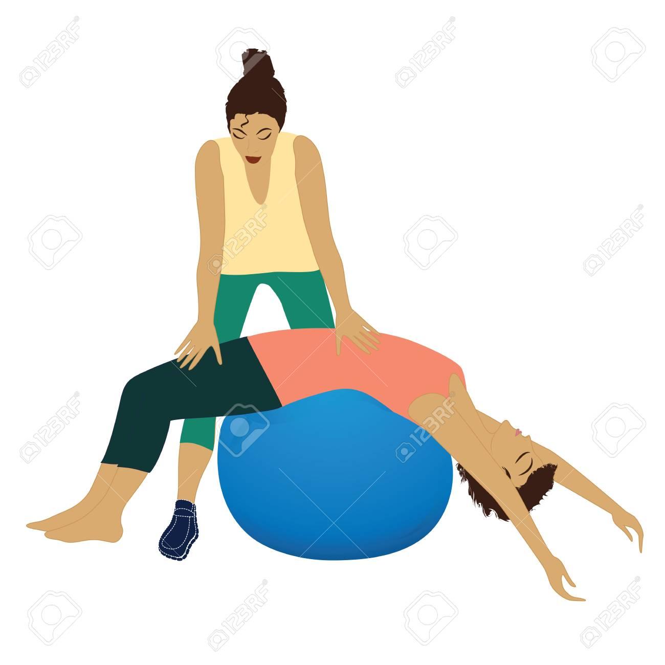 Ejercicio físico de la aptitud de la yoga del instructor personal en la bola  aislada en 74e1ab6ddc78