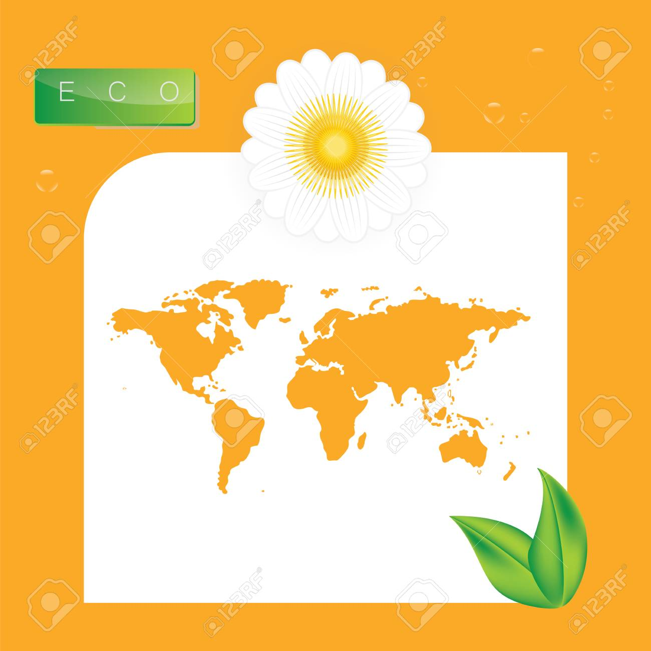 Logo Eco World Map White Flower Green Leaves On A Yellow Background