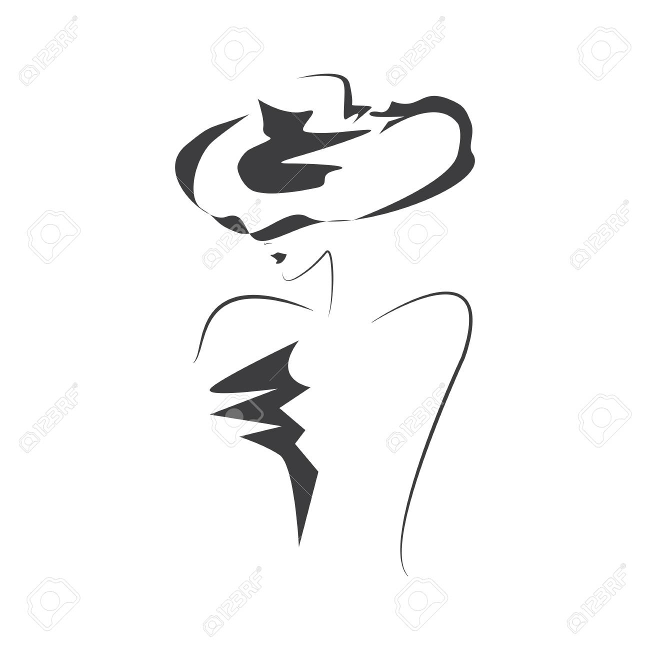 Sketch female silhouette in hat isolated on white background