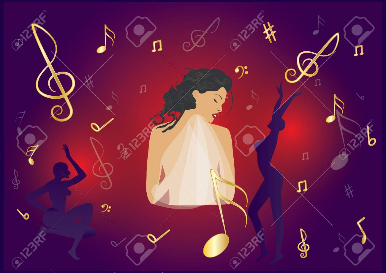 Music Banner  Sensual, emotional woman singing on a bright illuminated