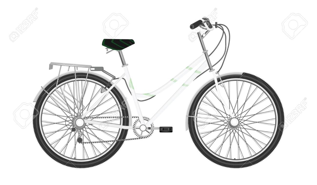 Bicycle with white frame, female, urban - isolated on white background - flat style - vector - 131326477