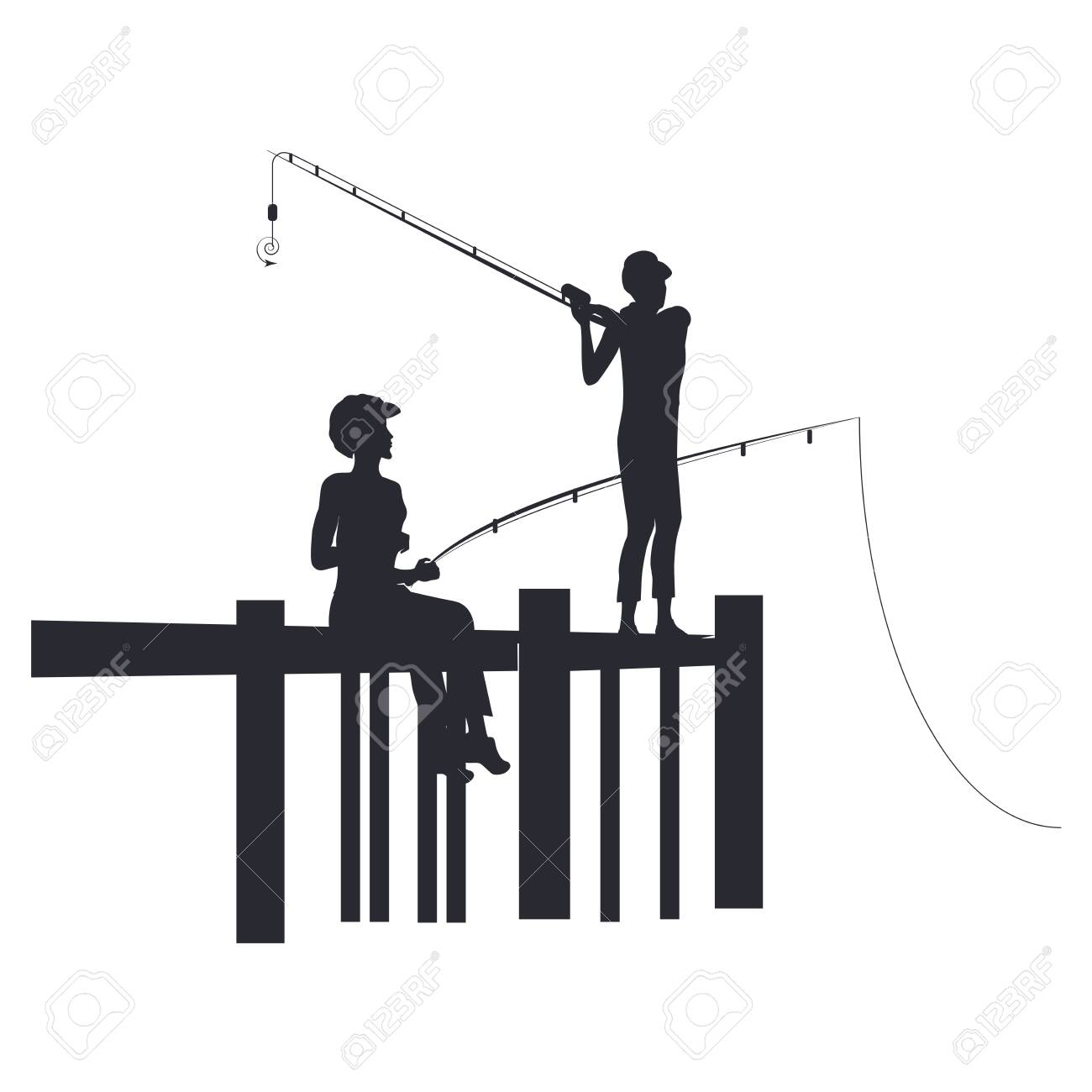 Fishing Two Silhouettes Of Girls With Fishing Poles On The Royalty Free Cliparts Vectors And Stock Illustration Image 131481261