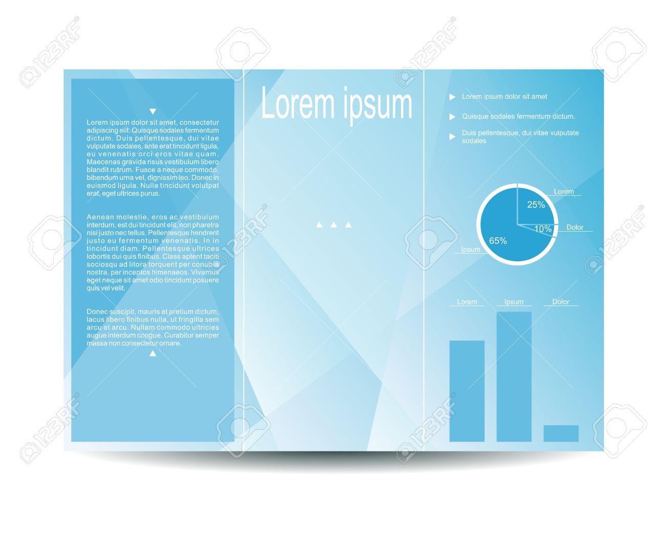 Vector Modern Tri Fold Brochure Design Template With Light Blue