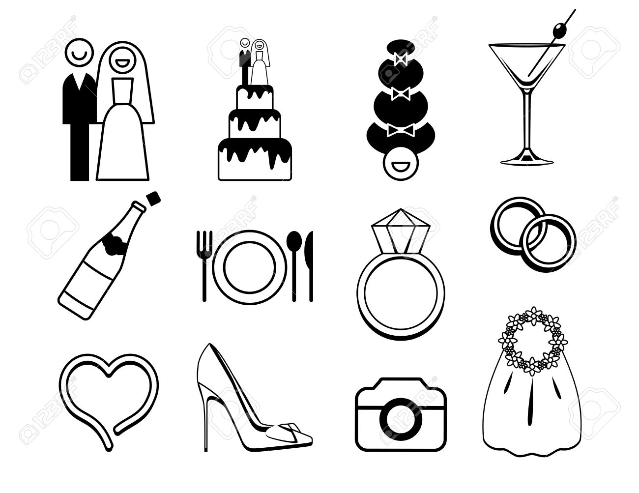 Vector wedding icons set may be used for wedding decoration vector wedding icons set may be used for wedding decoration cards invitation junglespirit Image collections