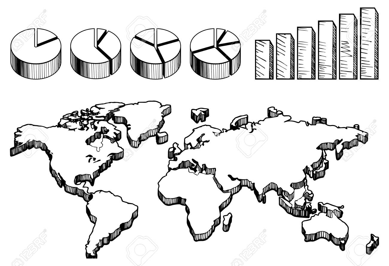 Mapa Del Mundo Vacio.Vector La Ilustracion Del Mapa Del Mundo En 3d Vacio Con Graficos Circulares Y De Columna En El Estilo Vintage Dibujado A Mano
