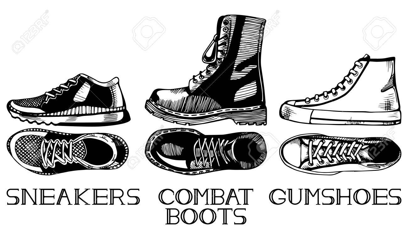 Line Art Shoes : Vector illustration of casual shoes set in old fashioned vintage