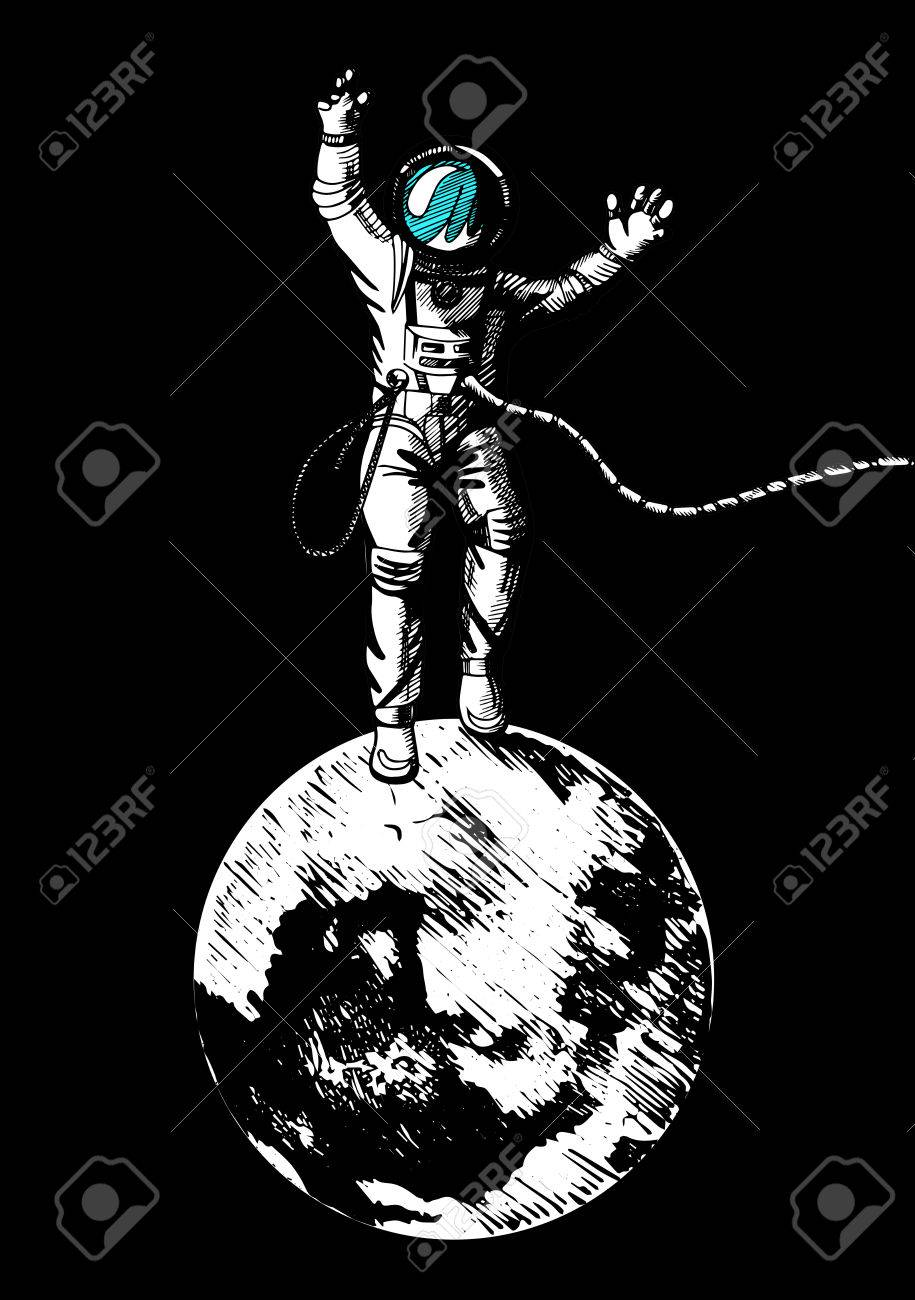 Vector Illustration Of Astronaut Standing On The Moon Vintage Engraving Style Stock