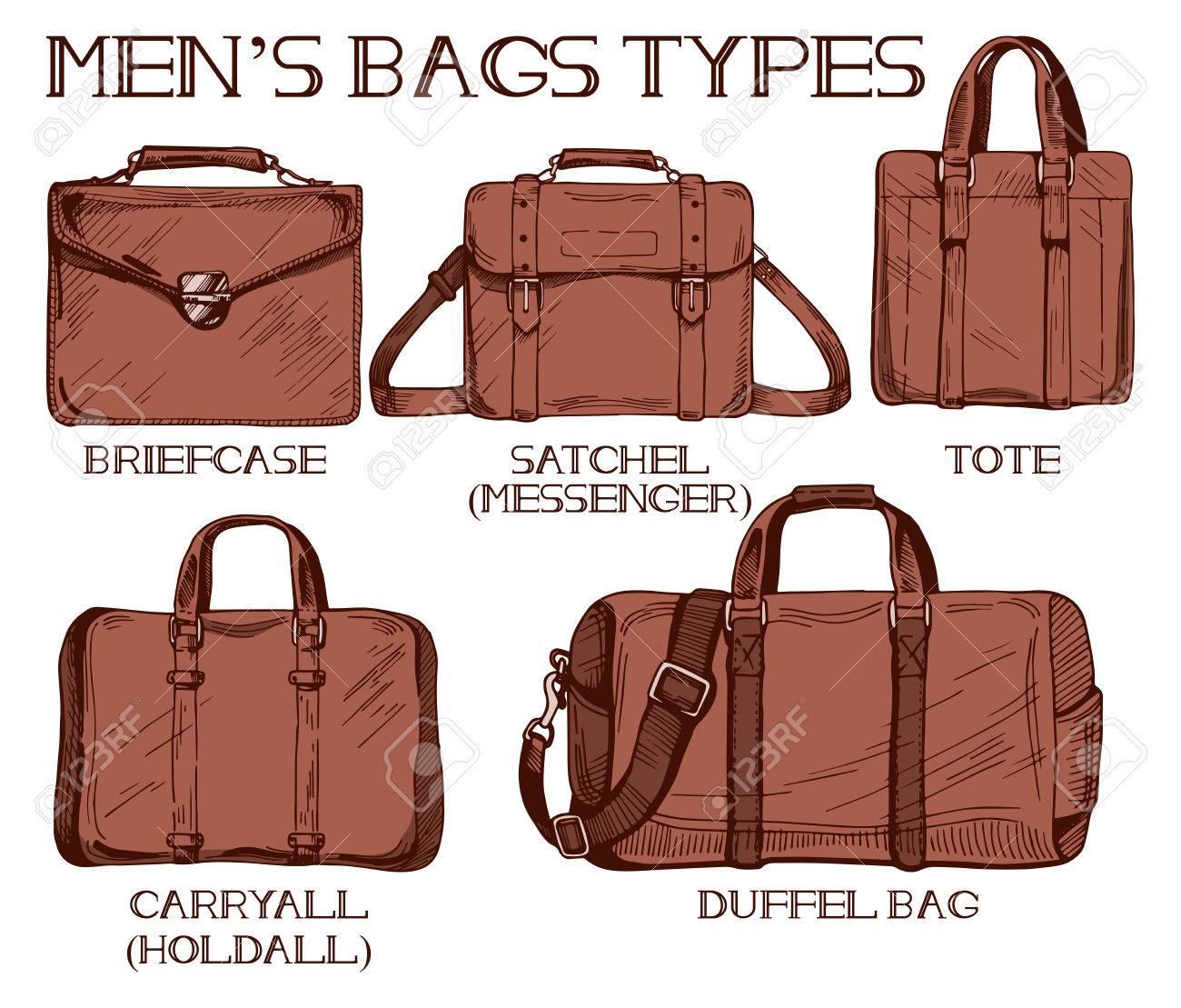Ilustración vectorial de bolsas para hombre tipos: maletín, mochila o messenger, tote, carryall de bolso de mano y bolso de mano. Estilo de dibujo