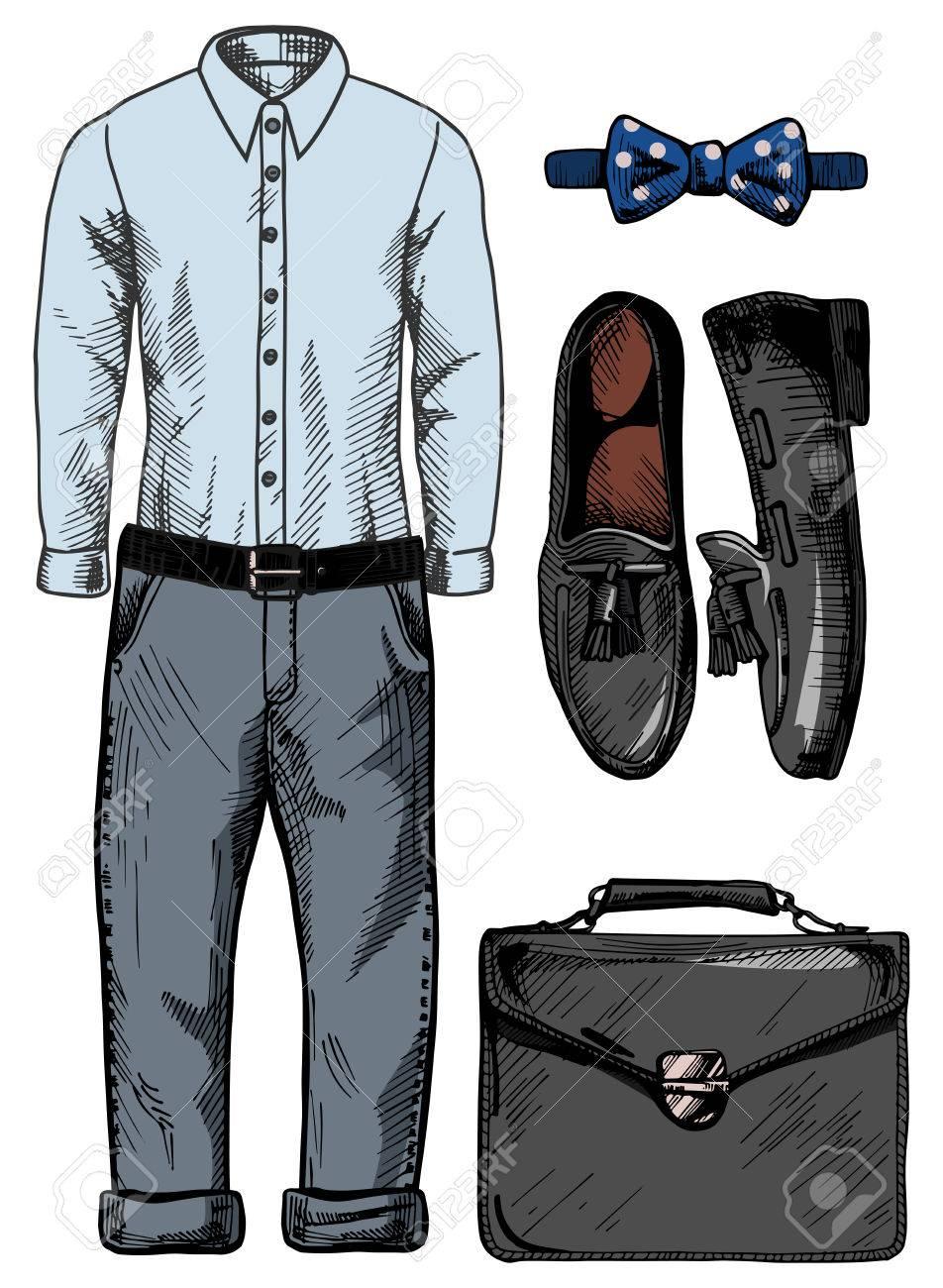 04d0a7a81d Foto de archivo - Vector ilustración de un sistema de la ropa de moda  masculina  camisa azul