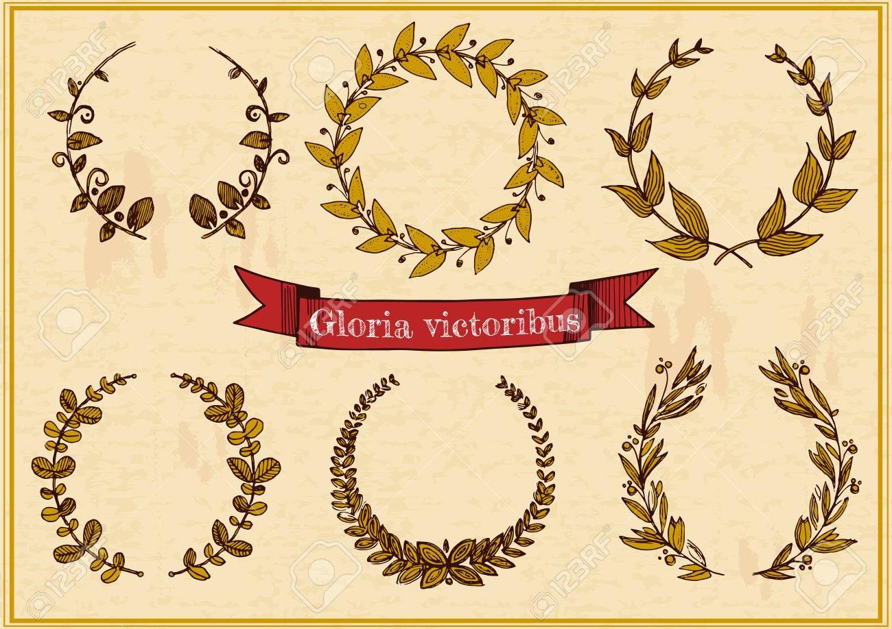 Vektor Illustration Von 6 Verschiedenen Goldenen Lorbeerkränzen Und