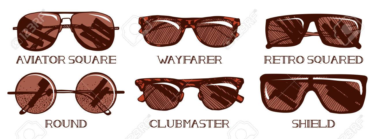 c21b3b1191 A Vector illustration of mens and unisex sunglasses types. Most popular  models  square aviator