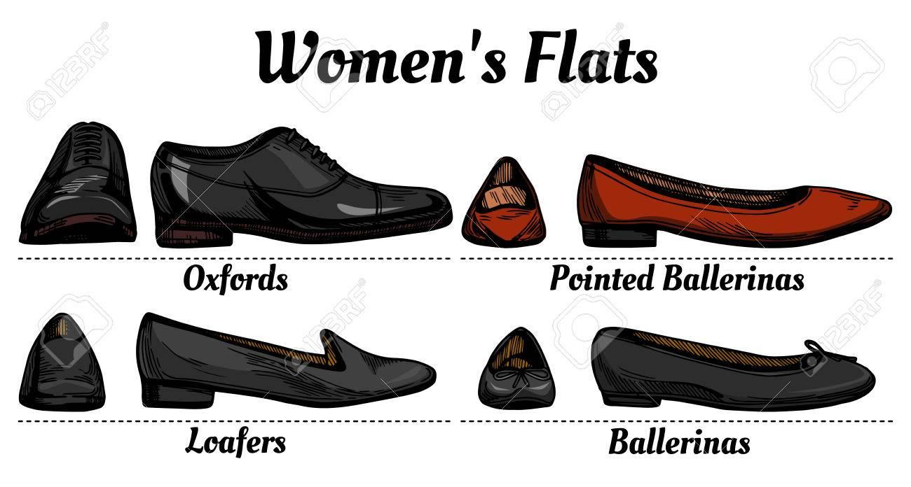 e8e549512e3 Womens Flats Shoes Types Classification Set. Oxfords
