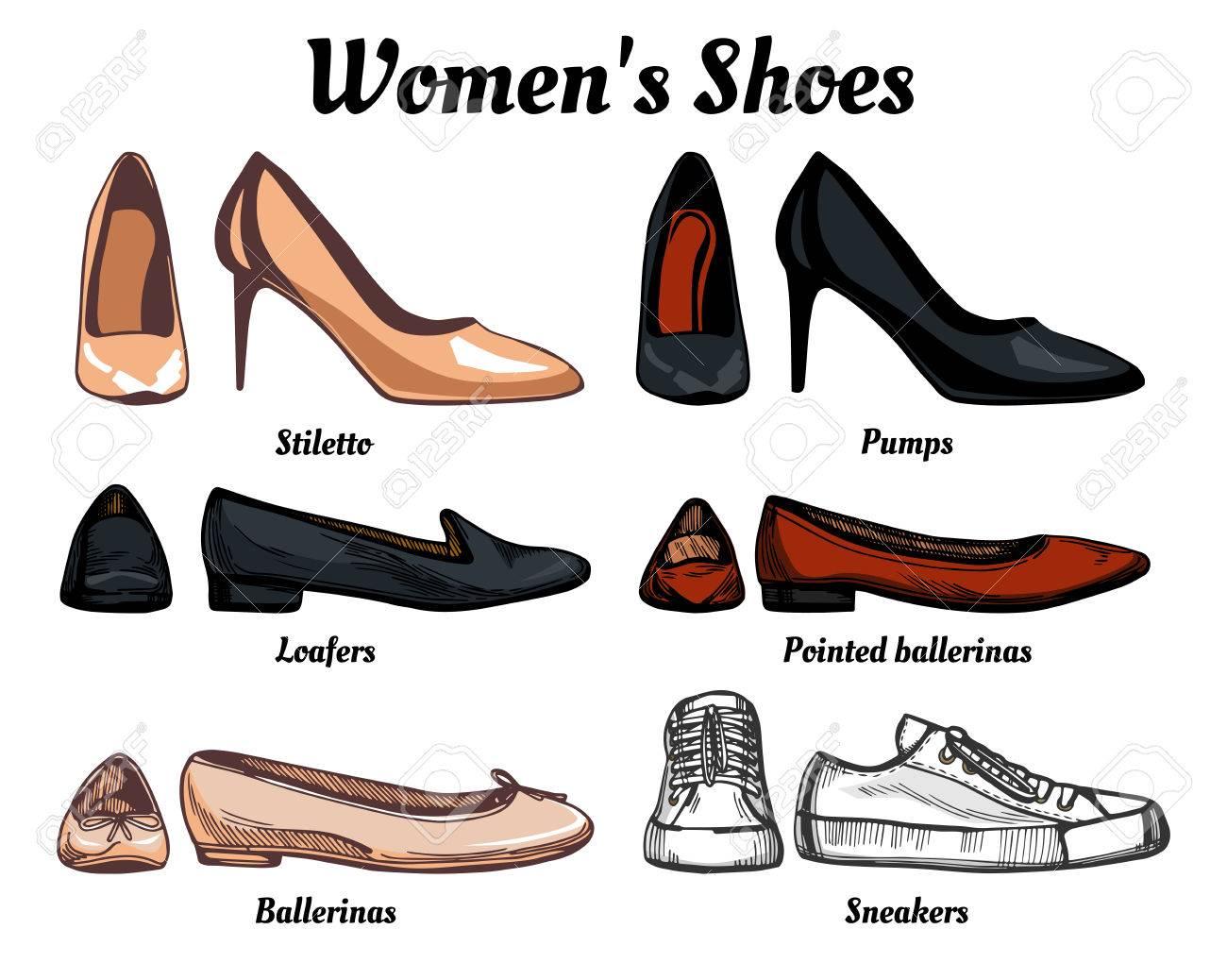 Clasificación de tipos de zapatos para mujer. Oxfords, mocasines, ballerinas simples y puntiagudas, bombas, tacones de aguja.