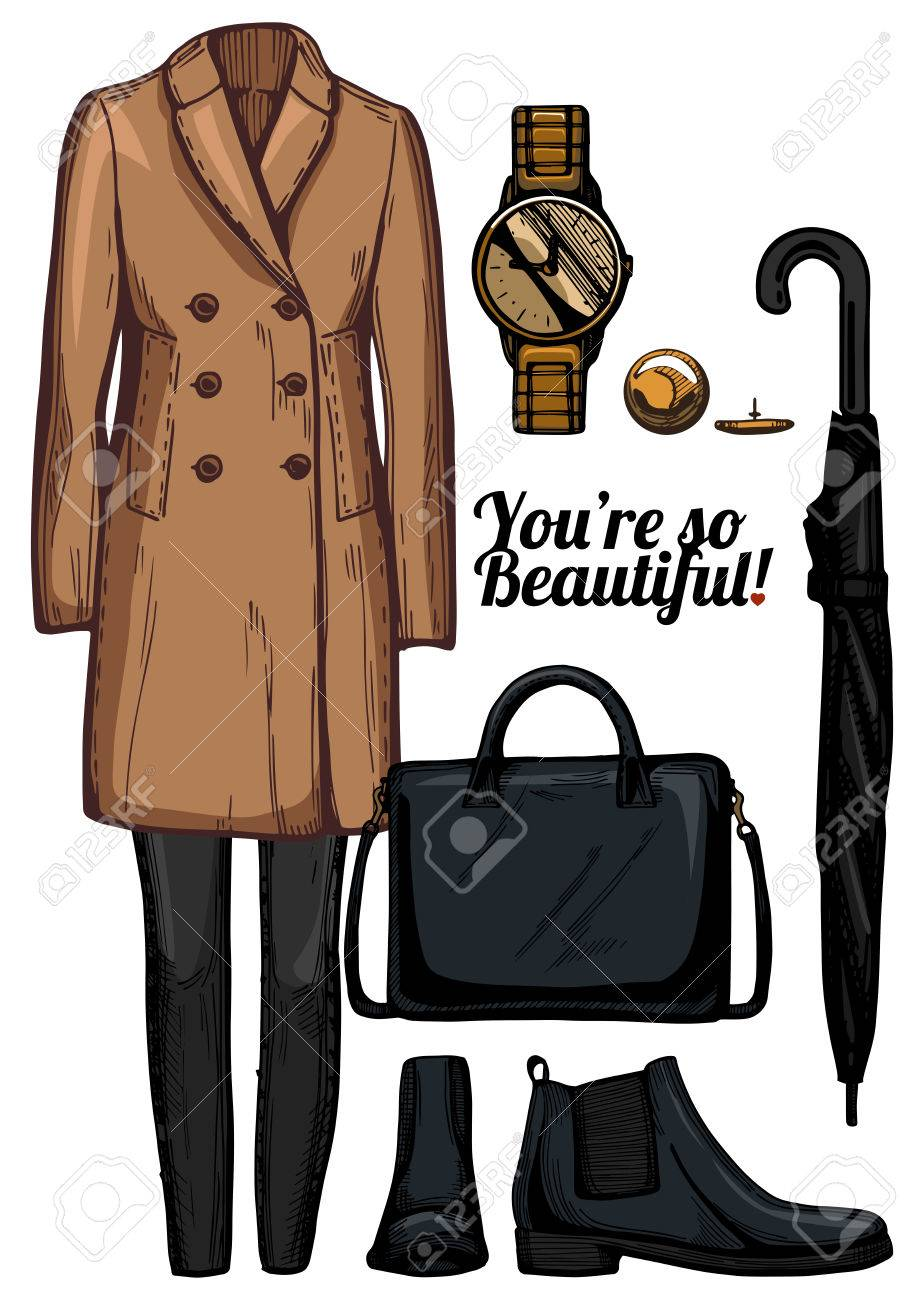 Vector illustration of women fashion clothes look set. English double  breasted camel coat, skinny