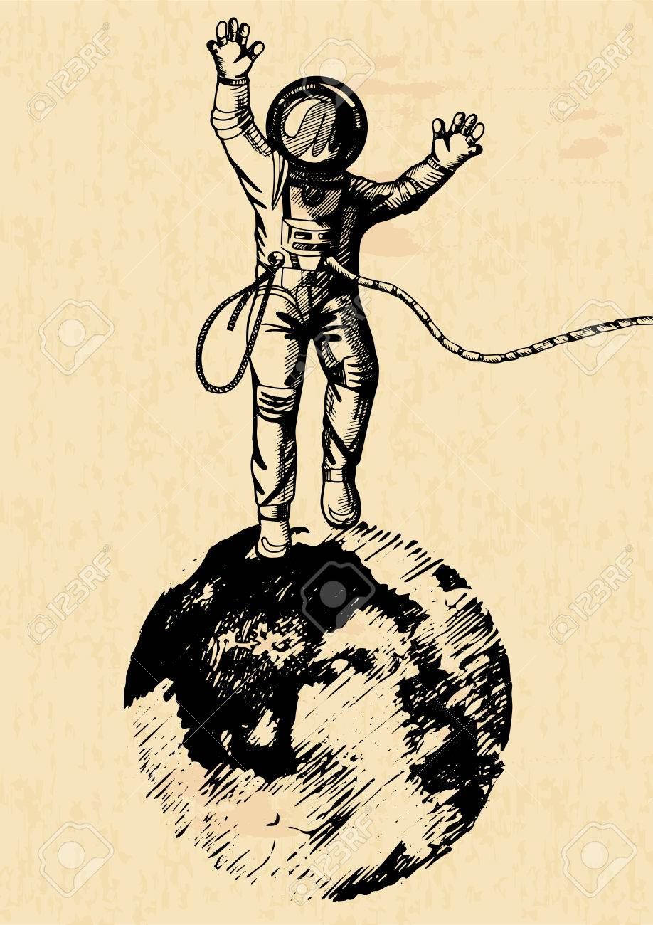 Vector Illustration Of Astronaut Standing On The Moon Vintage Engraving Style Old Yellow Paper