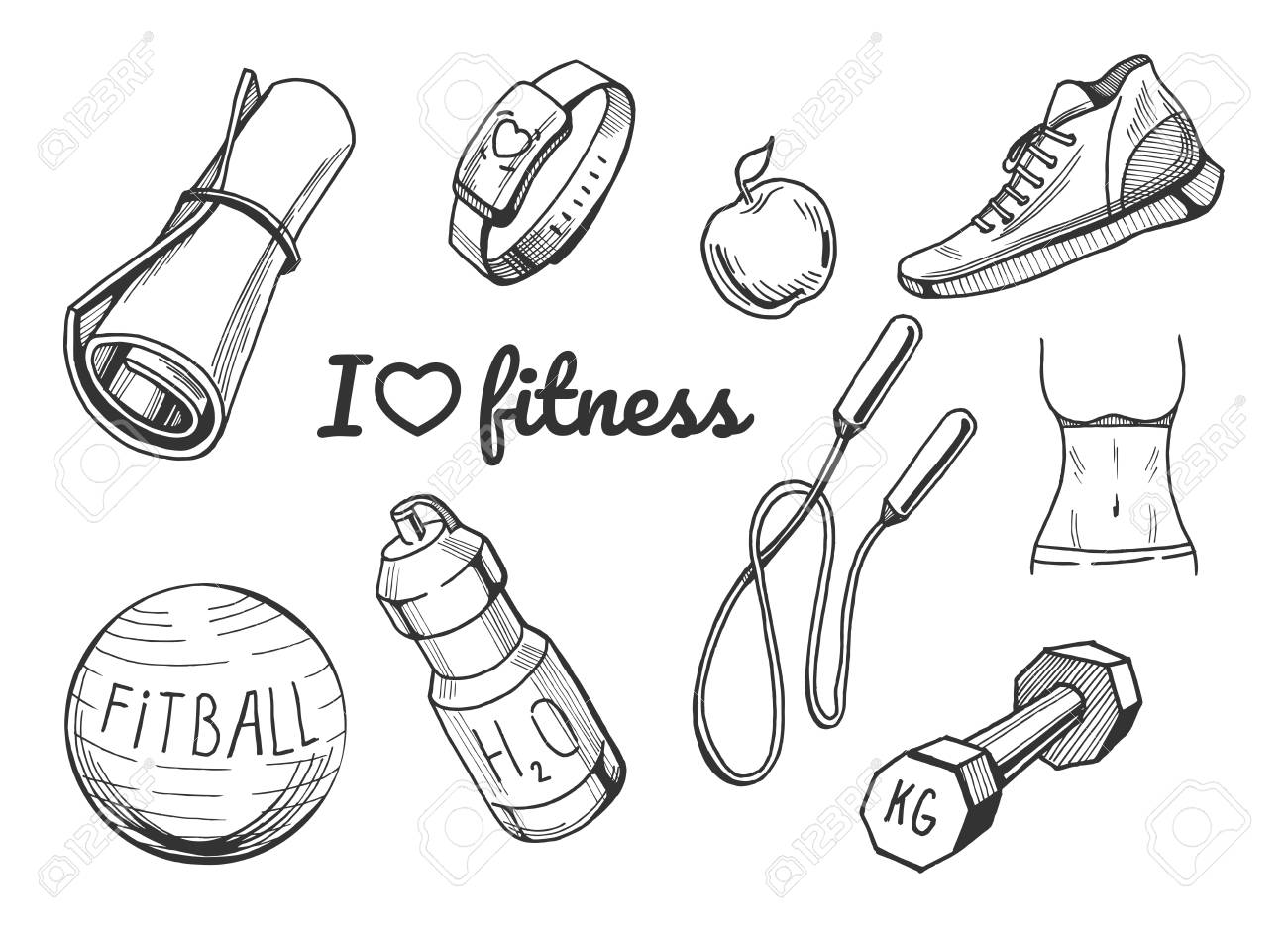 Vector Illustration Of A Fitness Items Icons Set Yoga Mat Cardio Royalty Free Cliparts Vectors And Stock Illustration Image 94780021