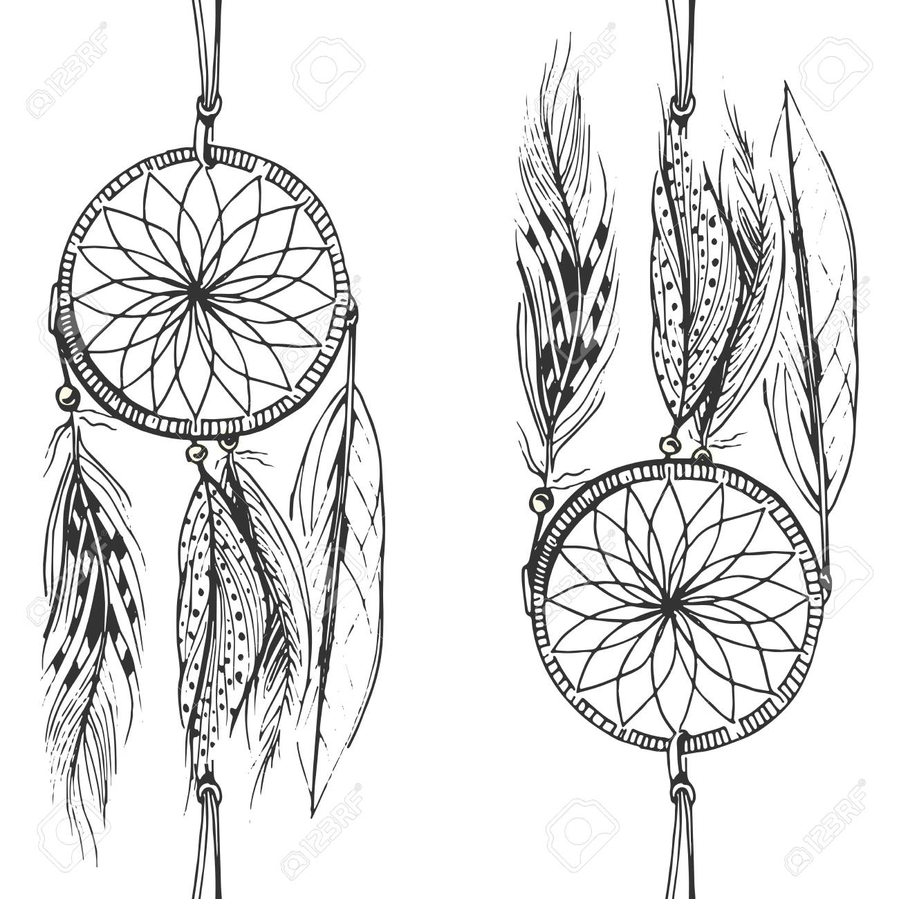 Vector Illustration Of Black And White Dream Catcher Pattern Royalty Free Cliparts Vectors And Stock Illustration Image 95728710