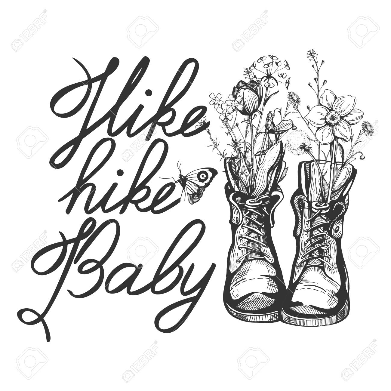 Vector illustration of an old vintage boots filled with wild field flowers. Calligraphy motivational quote inscription Hike baby. Hand drawn engraving style. - 103066288
