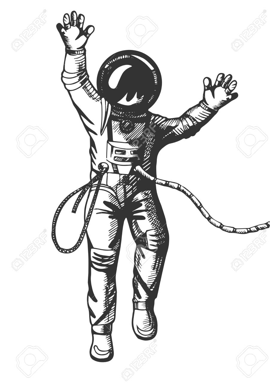 Vector Illustration Of The Astronaut Floating In Space In