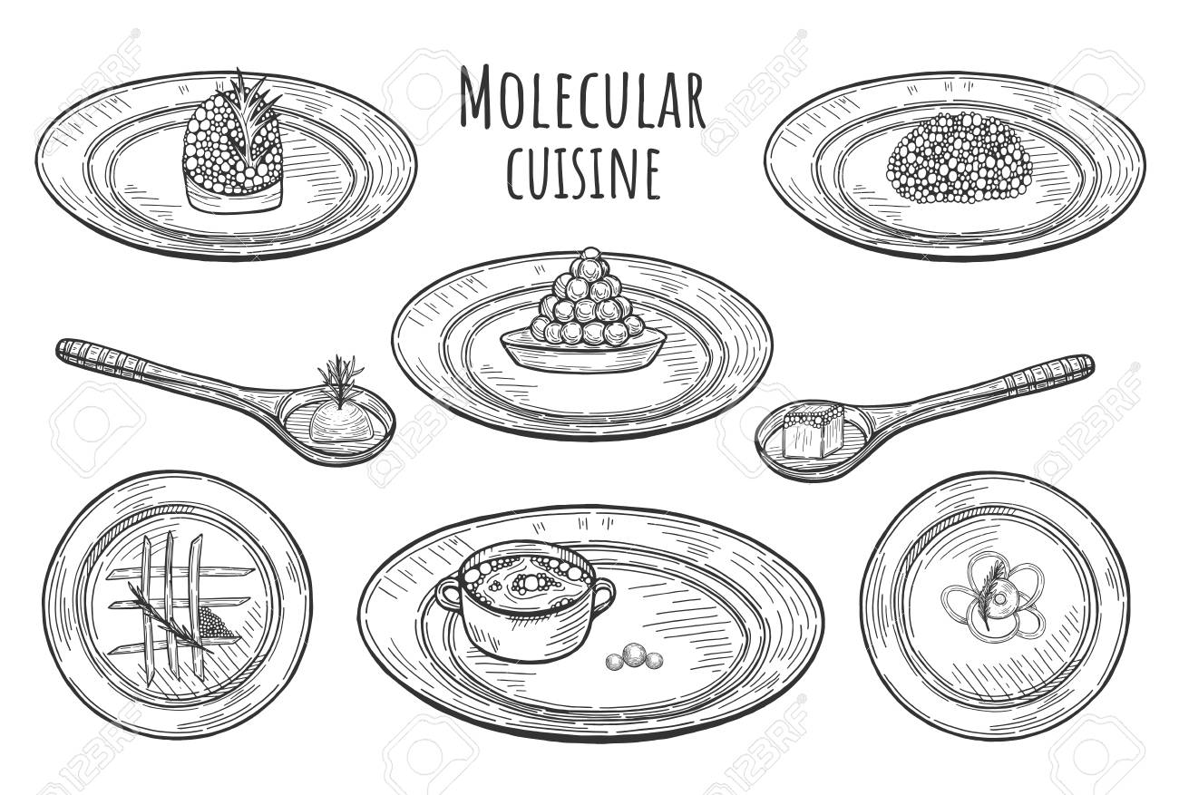 Vector illustration of molecular cuisine dishes. Extravagant fantasy food served on the plates and spoons. - 122133472