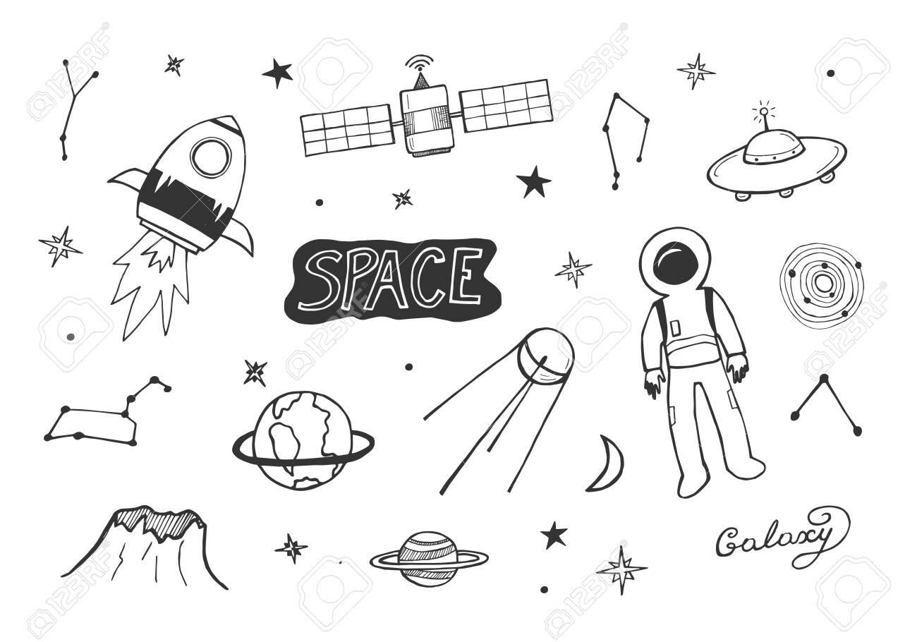 Vector illustration of cosmic icons set. Rocket, astronaut suit, earth, Saturn, UFO, galaxy, space, constellation, star, satellite. Hand drawn sketchy doodle style. - 122133554