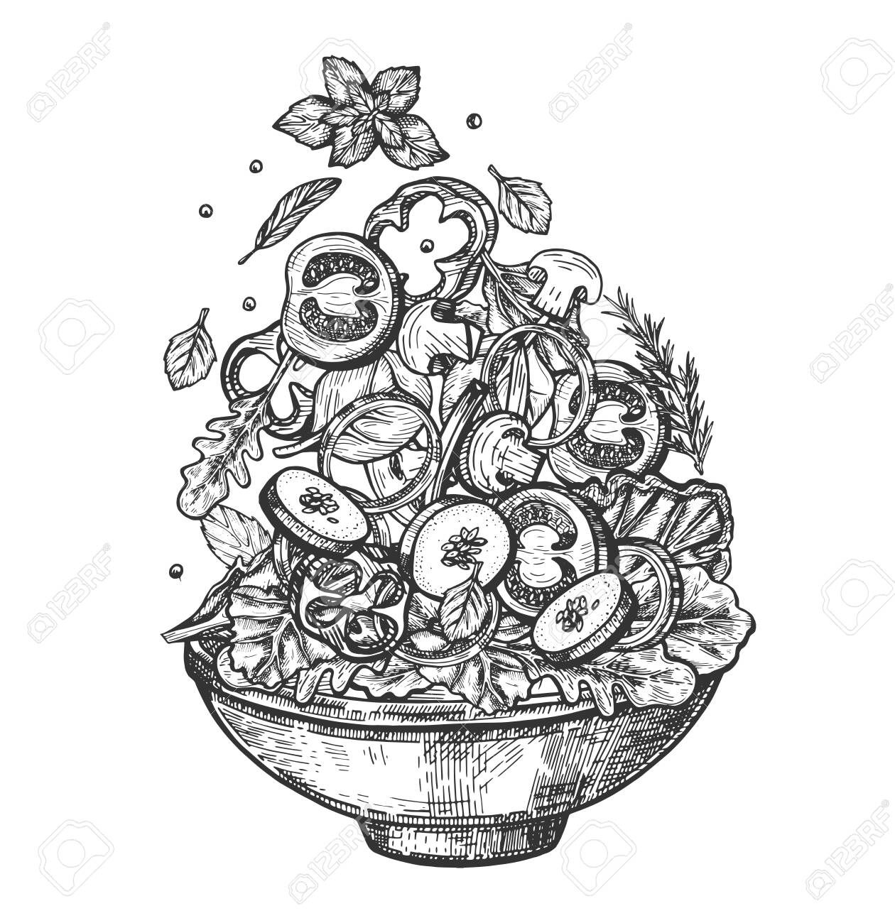 Vector illustration of fresh healthy salad bowl set. Dish with sliced tomatoes, mushrooms, zucchini, onion rings and sweet pepper, potions and lettuce. Vintage hand drawn style. - 124312908