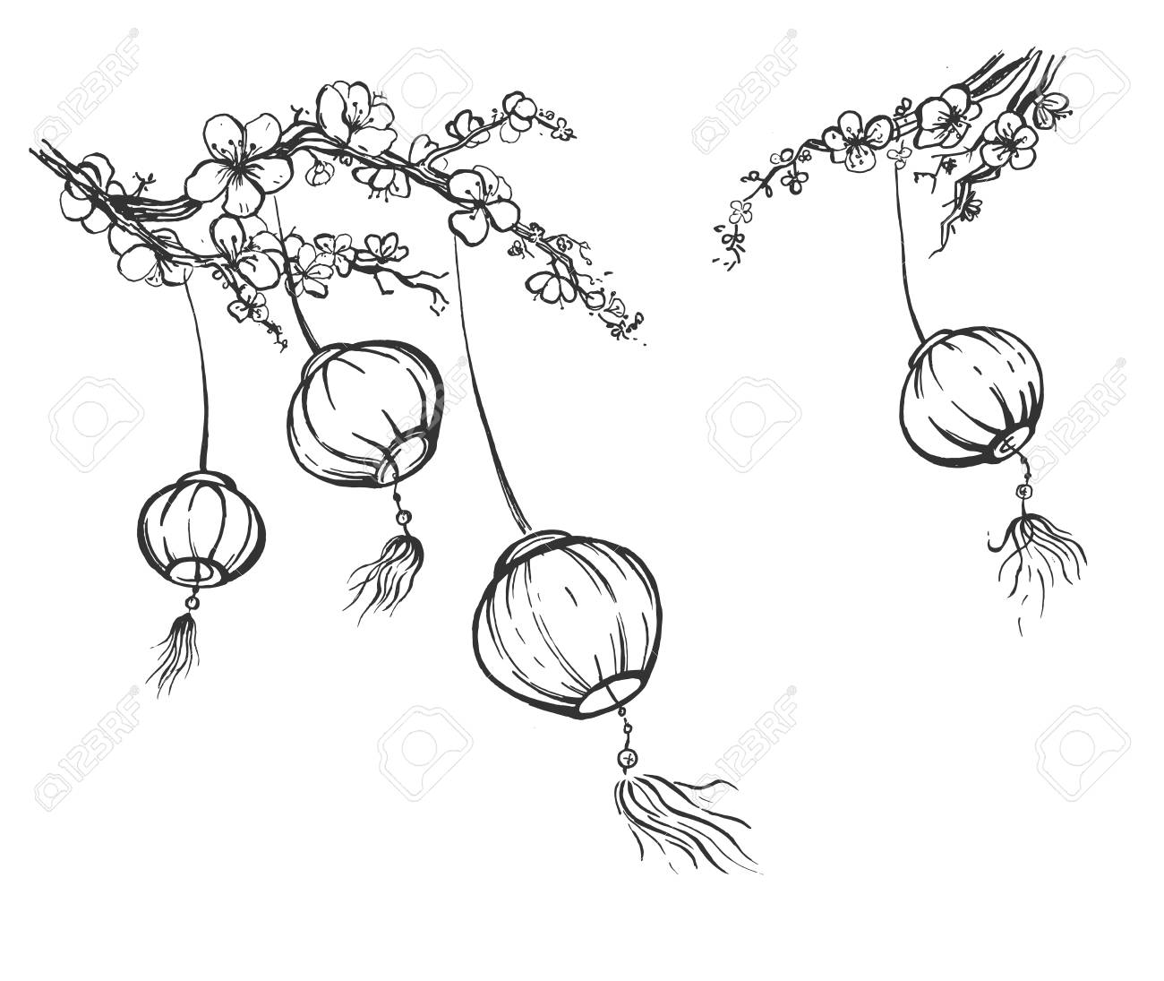 Vector Illustration Of Chinese Festival Sky Lanterns Set Hanging Royalty Free Cliparts Vectors And Stock Illustration Image 122894165