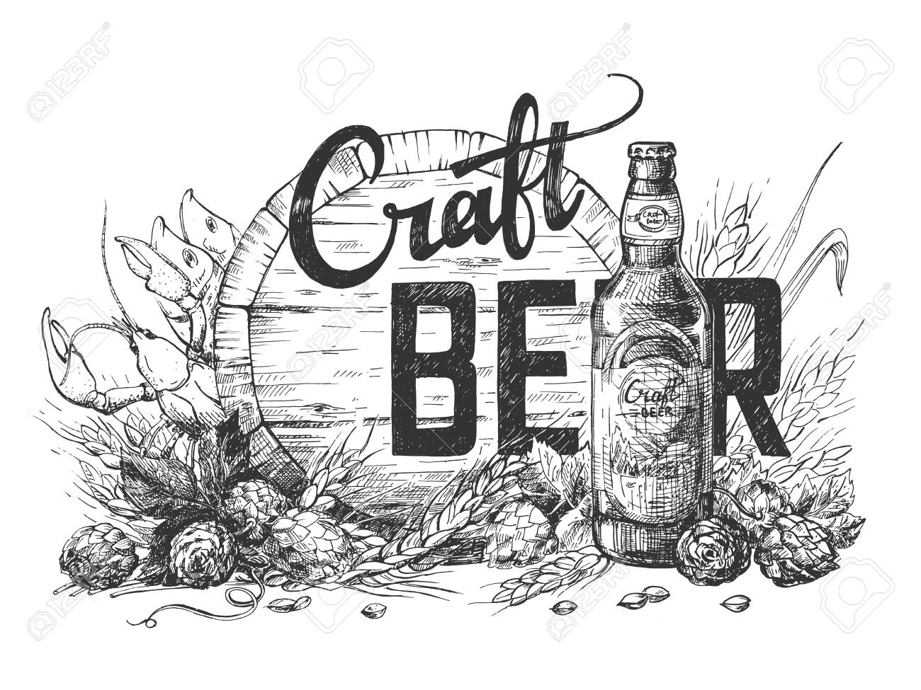 Vector illustration of craft beer calligraphy lettering composition on wooden barrel, hops, wheat and bottle background. Perfect illustration for pub or bar menu. Vintage hand drawn style - 137999546