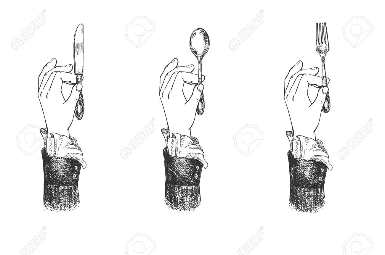 Vector illustration of female hands with a fancy cuff holding butter knife, fork and spoon. Cutlery restaurant etiquette. Vintage hand drawn engraving style. - 156488678