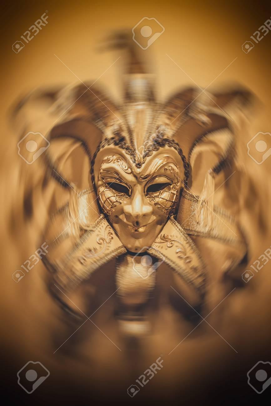 Sinister Mask On Dark Background Italy Style Mask Stock Photo