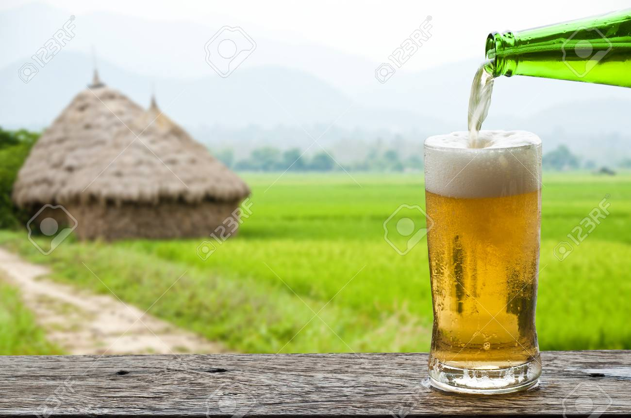 Enjoy beer with rice field landscape Stock Photo - 27299271