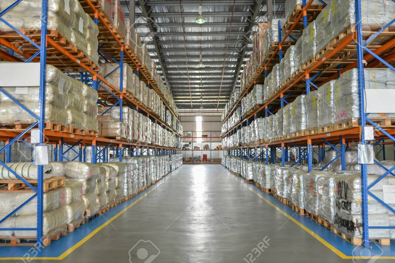 Logistic cargo warehouse with shelves of package on pallet. - 142927524