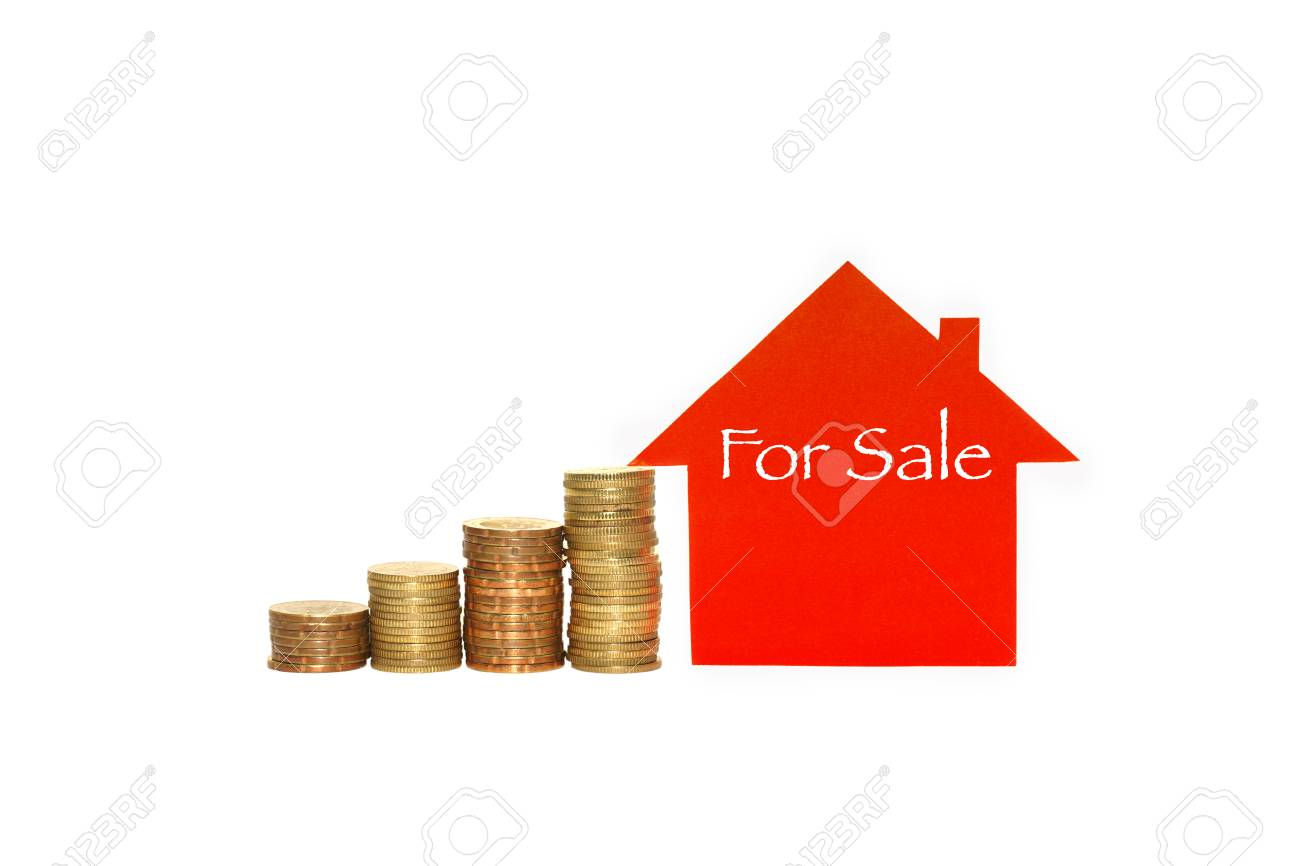 real estate investment house and coins on white background and