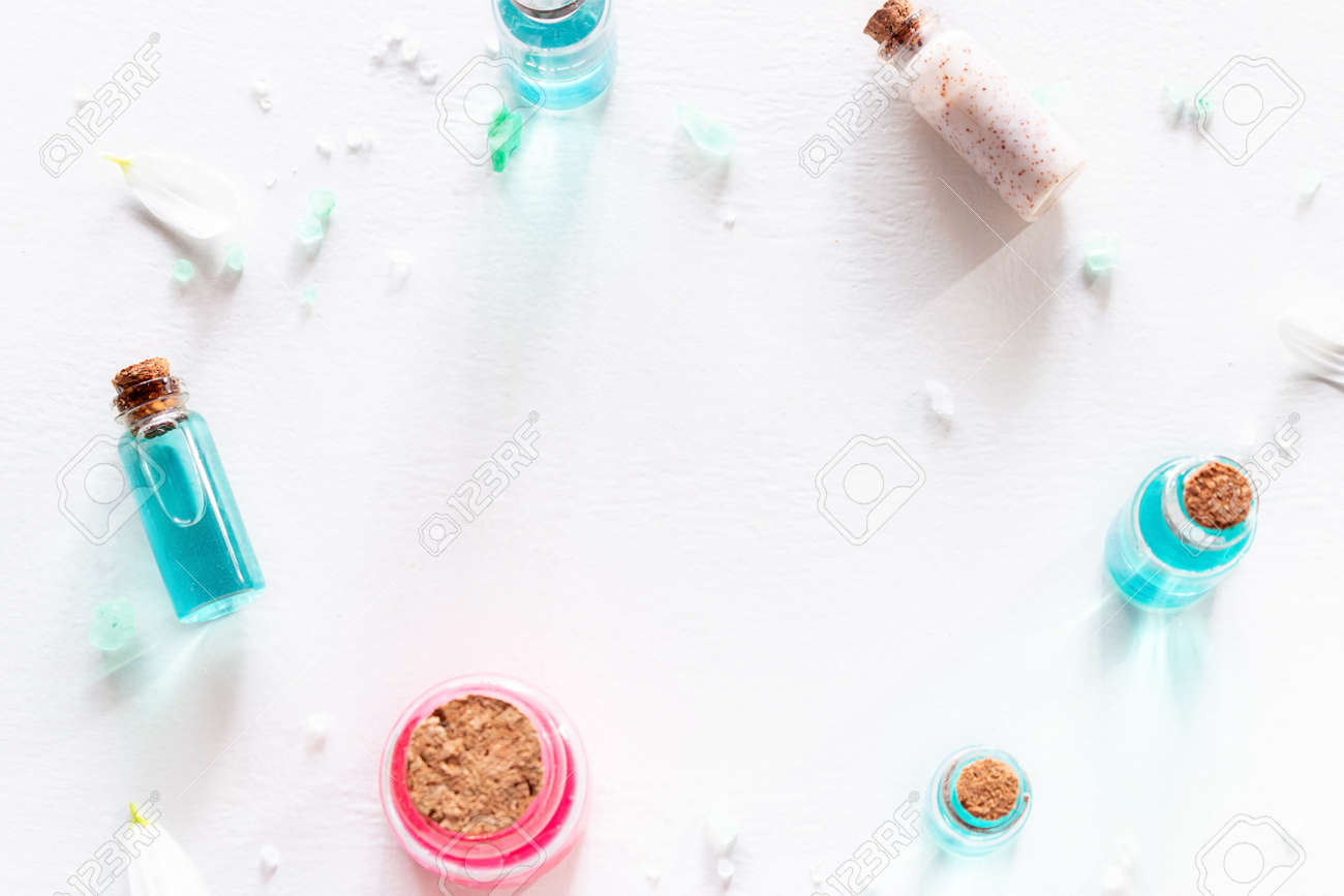 frame from samples of natural cosmetics on white background with place for text - 166142600