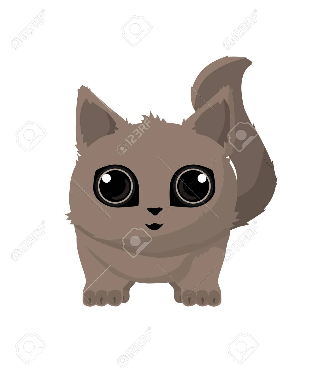 Cute Cat detailed with big eyes with shadows - 95150969