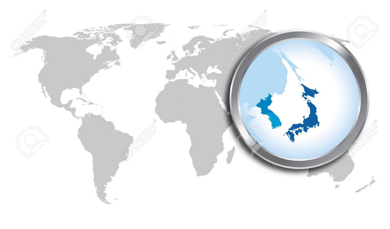 World Map With Japan Korea Magnified By Loupe Royalty Free - Japan map in world map