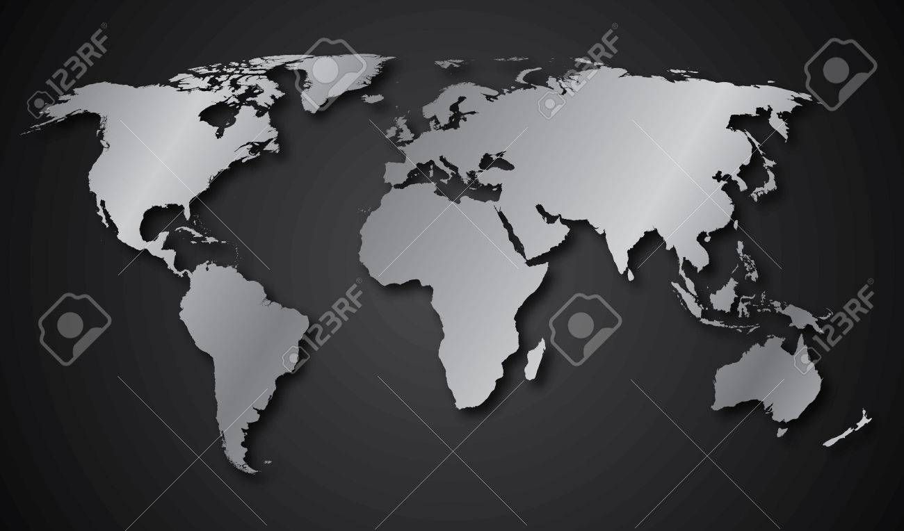 World map continents gray gradient - 33688539