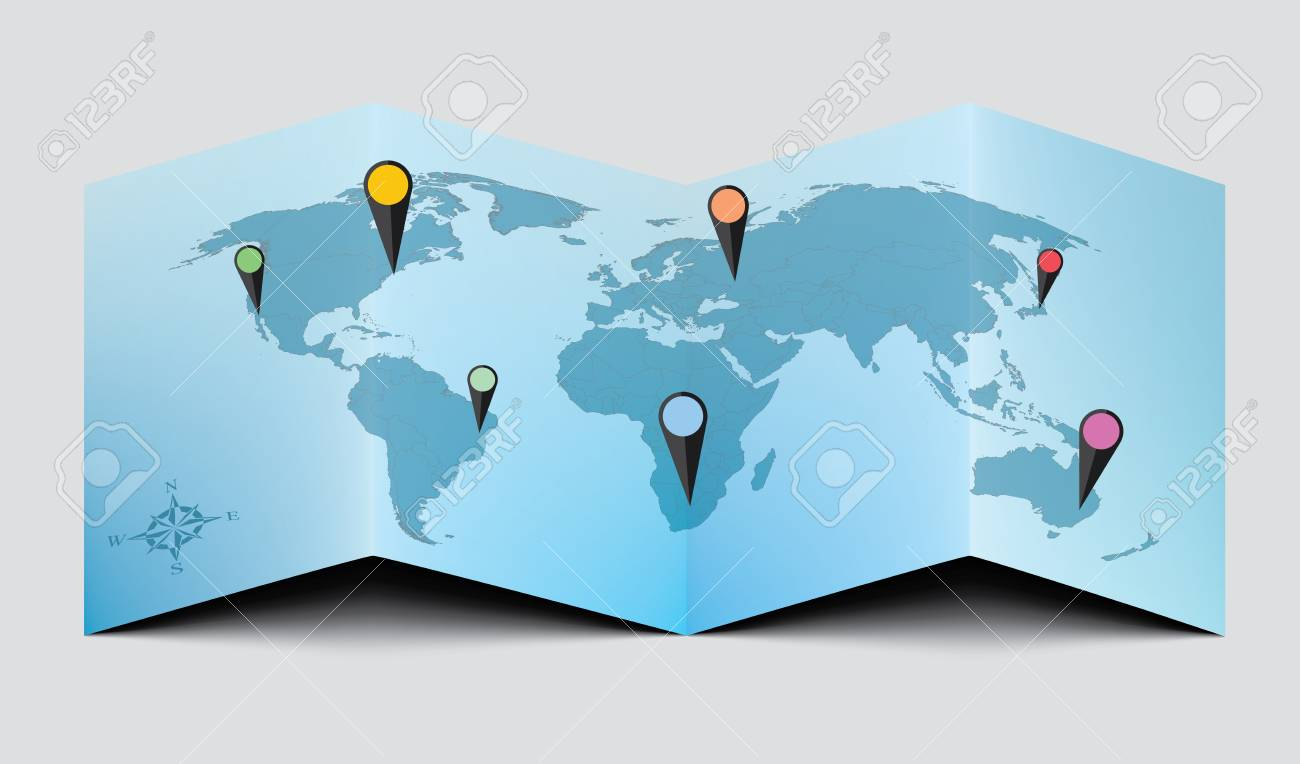 World Paper Map - Blue EPS 10 - 34402558