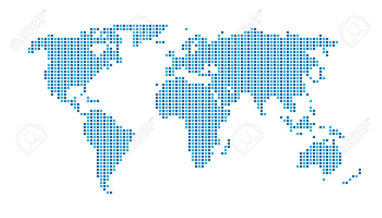 World Map Dots Matrix Two Tone pattern Blue - 40858136