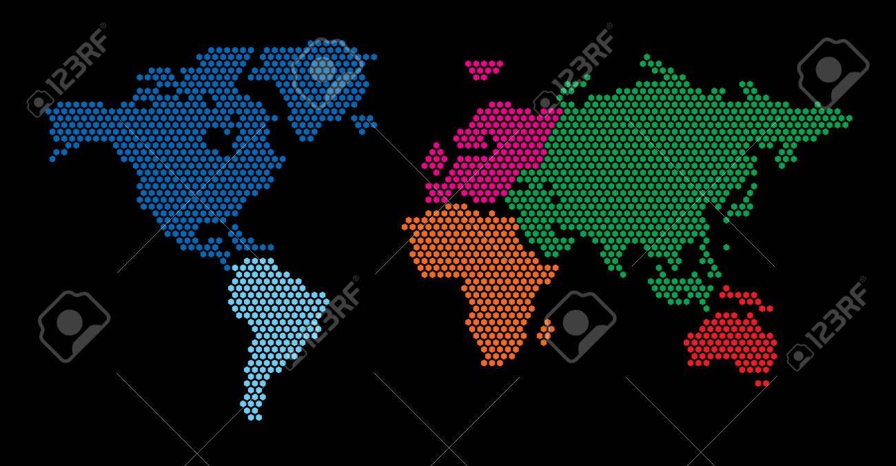 World Map Hexagon - 43015935