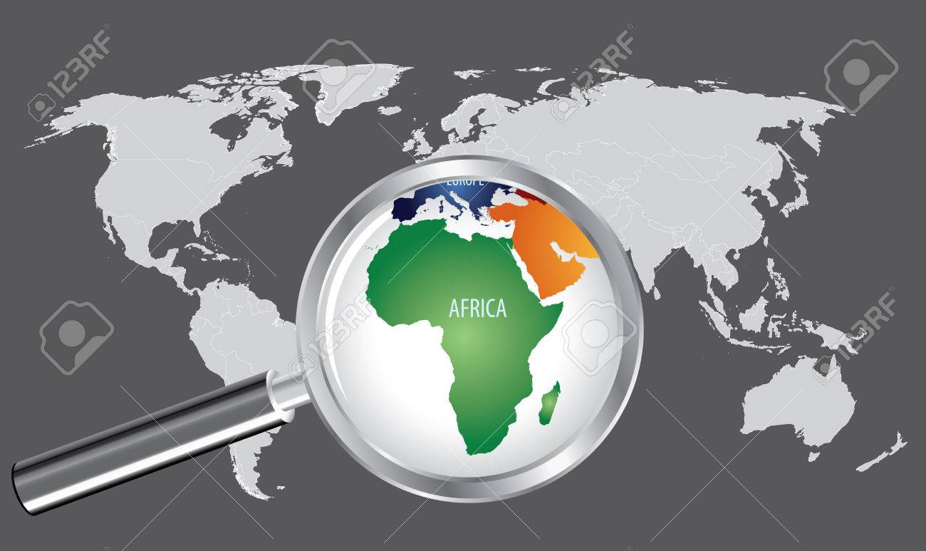 World Map with magnifier - Africa - 64548018